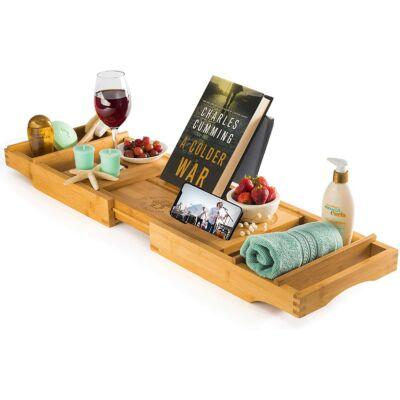 Litera - bambusz tálca / könyvtartó fürdőkádhoz